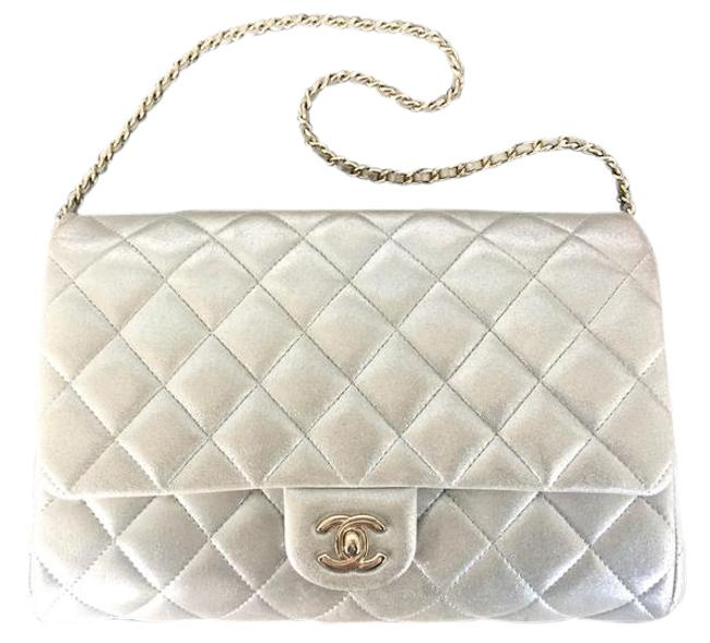 Item - Clutch Quilted On A Chain Excellent Silver Lambskin Leather Shoulder Bag
