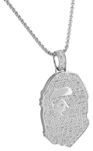 Other Custom Iced Out Bling Simulated Diamond Ape Pendant Chain Silver Tone