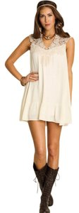 Umgee short dress WHITE Boho Lace Sleeveless Shift on Tradesy