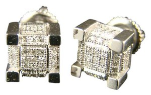 Other 10K White Gold Ice Cube Block Mens/Ladies Diamond Stud Earrings 8 Mm