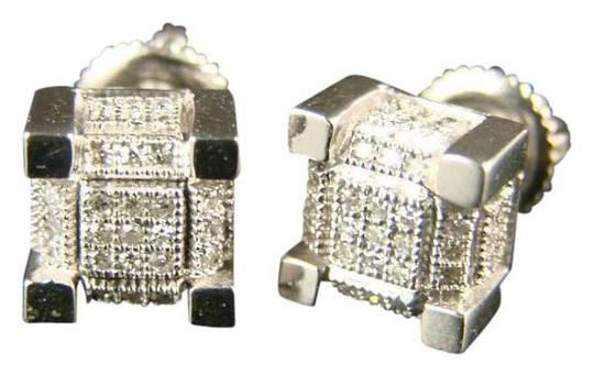 Preload https://img-static.tradesy.com/item/20885517/white-gold-10k-ice-cube-block-mensladies-diamond-stud-mm-earrings-0-1-540-540.jpg