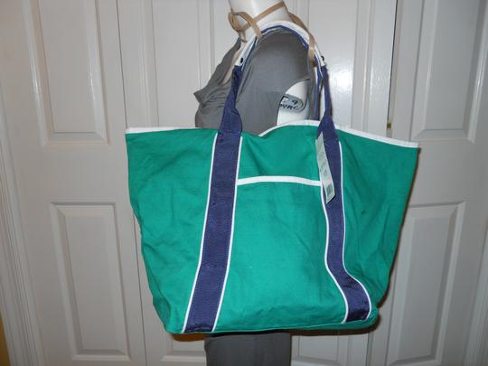 Mondani Tote in green, navy & white