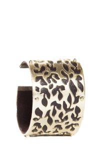 Fossil Fossil Gold Tone Cuff With Chocolate Patent Leather Trim