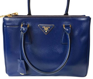 Prada Tote in Royal Blue with gold hardware