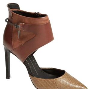 Dolce Vita Python Leather Stiletto Heel Point Toe Ankle Strap Distressed Leather Light Brown/Tan Pumps