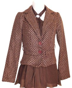 Forever 21 Metallic Tweed Belted Wool Brown, Tan Blazer
