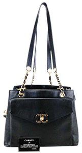 Chanel Gold Ball Caviar Leather Flap Shopping Tote in Black