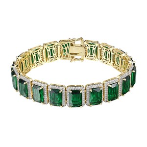 Other Green Ruby CZ Bracelet Solitaire 14k Gold Plated Hip Hop Rapper