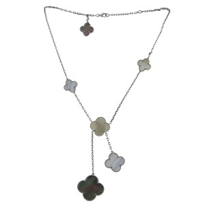 Van Cleef & Arpels Van Cleef & Arpels Alhambra 18k White Gold MOP 6 Motif Necklace
