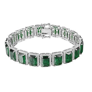 Other Green Ruby CZ Bracelet Silver Tone Iced Out Hip Hop 15mm Rick Ross
