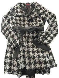 Yoki Houndstooth Tweed Knit Winter Chic Pea Coat