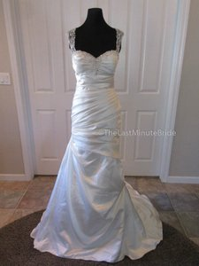 Essense of Australia Ivory/Java Luxe Satin D2071 Feminine Wedding Dress Size 12 (L)