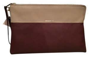 Coach Oxblood And Olive Gray Clutch