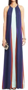Diane von Furstenberg Silk Color-blocking Maxi Pleated Evening Dress