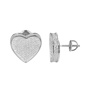 Other Sterling Silver Heart Shape Earrings Simulated Diamonds Screw On 16mm