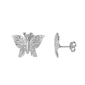 Other 925 Silver Butterfly Design Earrings Screw On Women Simulated Diamond