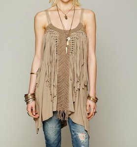 Free People short dress Taupe Tank Small Viscose on Tradesy