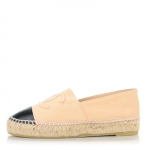 Chanel Lambskin Leather Espadrille Classic Logo Beige and Black Flats