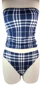 Burberry Blue Nova Check Tankini Swimsuit Sz: M (4 - 8)