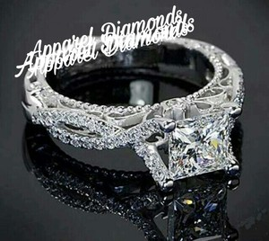 Romantic Antique Female Ring 2ct Simulated Cz 925 Sterling Silver