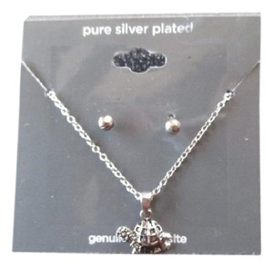 JCPenneys NWT Women's Turtle Necklace/Ear Studs Silver Plated Genuine Marcasite
