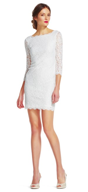 Preload https://img-static.tradesy.com/item/20886244/adrianna-papell-white-lace-sheath-with-sheer-three-quarter-sleeves-mid-length-cocktail-dress-size-4-0-0-650-650.jpg