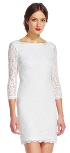 Adrianna Papell White Lace Cocktail Sheath with Sheer Three Quarter Sleeves Casual Wedding Dress Size 4 (S)