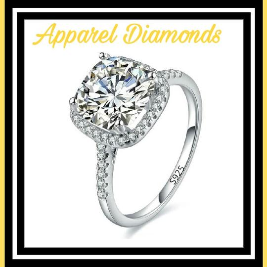 Silver Plated For Women Square Simulated Diamond Ring