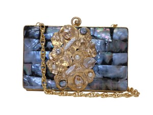 Bellezza Handmade Mother Of Pearl Viva Pearls Crystals Detachable Strap Grey & Gold Clutch