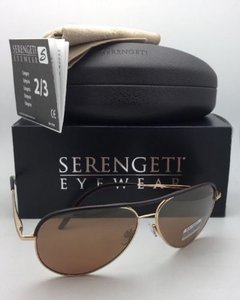 Serengeti SERENGETI Photochromic Polarized Sunglasses CARARRA LEATHER 8549 Gold