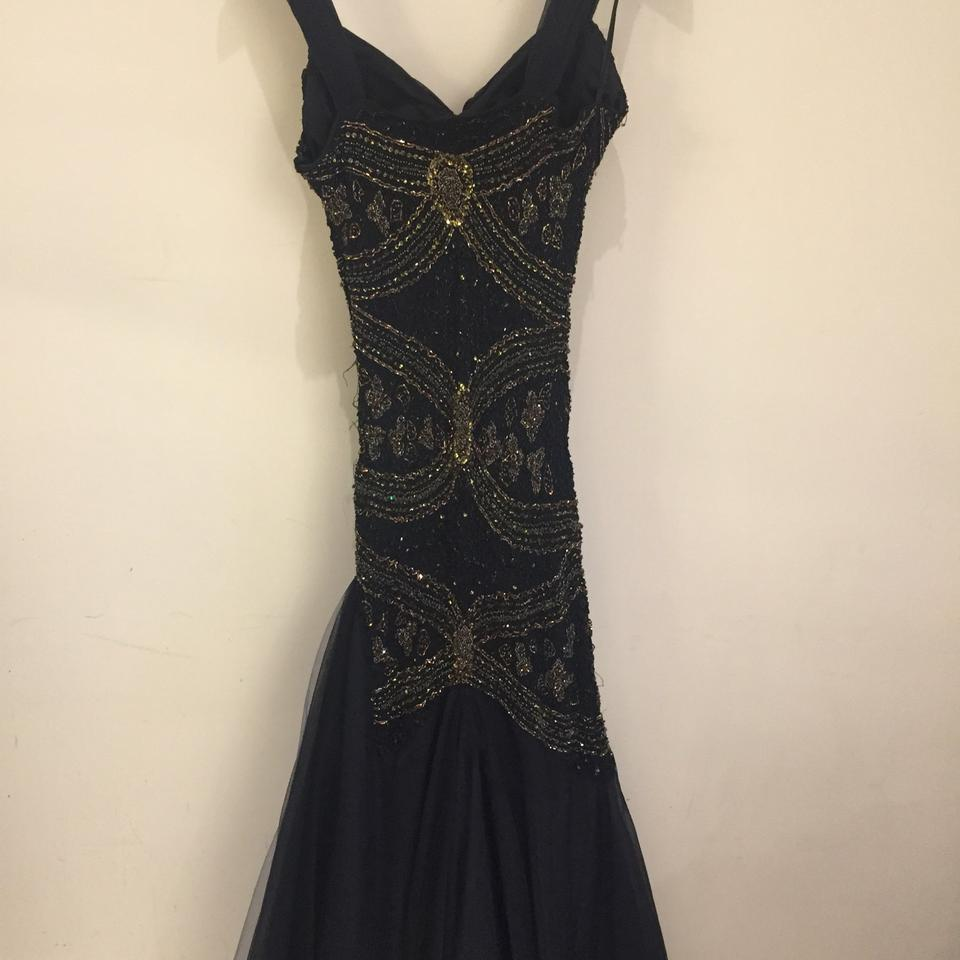 Black/Gold Evening Gown Long Formal Dress Size 4 (S) - Tradesy