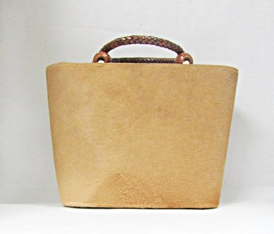 Escada Ponyhair Leather Calfhair Tote in Camel