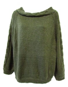Easel Acrylic Cable Knit Chunky Green Off-shoudler Sweater
