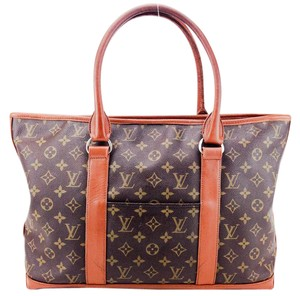 Louis Vuitton Canvas Leather Weekend Vintage Tote in Brown and Tan