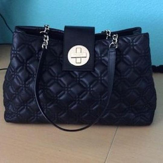 Kate Spade Quilted Leather Chain Astor Court Elena Satchel in Black