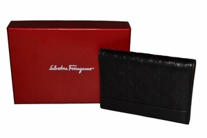 Salvatore Ferragamo Authentic Ferragamo Black Leather Card Holder