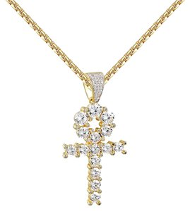 Other Solitaire Ankh Cross Pendant 14k Gold Over 925 Silver Round Cut
