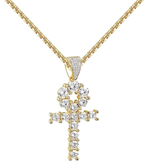 Preload https://img-static.tradesy.com/item/20886486/solitaire-ankh-cross-pendant-14k-gold-over-925-silver-round-cut-charm-0-1-540-540.jpg