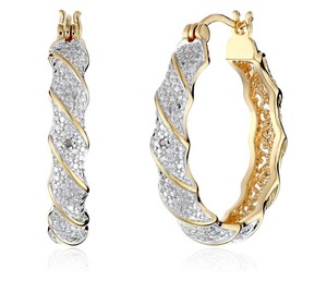 Zales Two-Tone 18K Gold Plating Diamond Accent Twisted Hoop Earrings