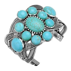 Aris Chunky Woven Metalwork Turquoise Stone Cuff Bracelet #B01N6DO9VK