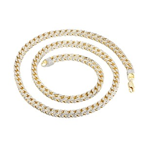 Other Franco Link Necklace 31 Inch Fully iced Out 14k Gold Finish 7mm