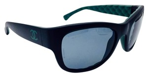 Chanel Chanel Matte Black with Green Quilted Sunglasses 6049 c.1481/Z7 55
