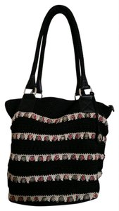 The Sak Crochet Tote in Black with cream, multi colored ribbon