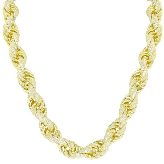 Other 925 Sterling Silver Rope Necklace 14k Gold Finish Iced Out 24