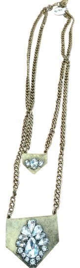 Preload https://img-static.tradesy.com/item/20886638/brass-metal-double-chain-with-rhinestones-necklace-0-1-540-540.jpg