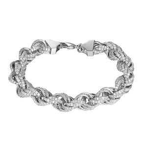 Other Iced Out Rope Link Bracelet 11mm Iced Out Simulated Diamonds Hip Hop