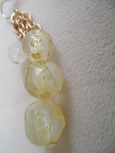 Chico's Creamy White Faceted Glass Drop Dangle Earrings NEW