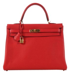 Hermès Red Hr.k1101.05 Clemence Leather Gold Satchel