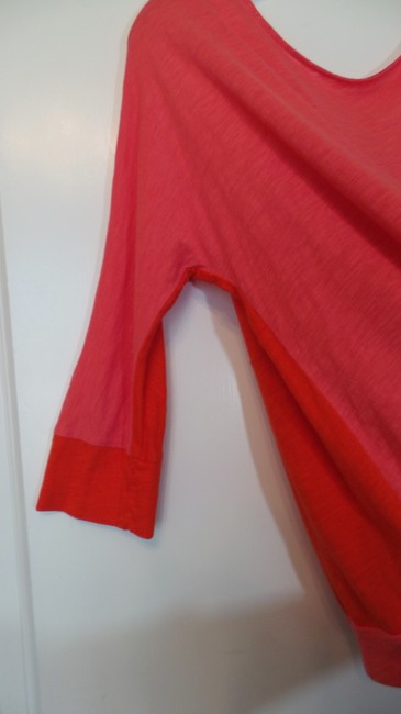 Ann Taylor LOFT Knit Large Color Blocked Like New Cotton Top Orange & Pink w/ Purple