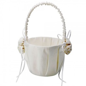 New Ivory Satin Flower Girl Basket With Rosette Cluster Detail